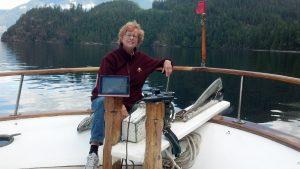Linda demonstrating the Navionics App