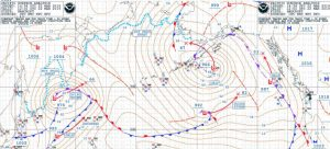 Weather systems chart showing pressure systems