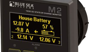 House battery monitor image. Learn about creating power on your boat