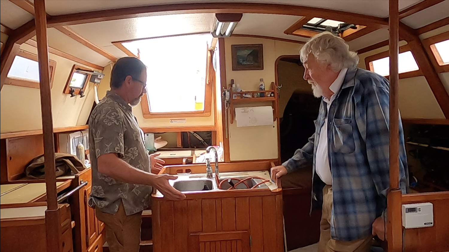 Mike & Bob Perry inside boat