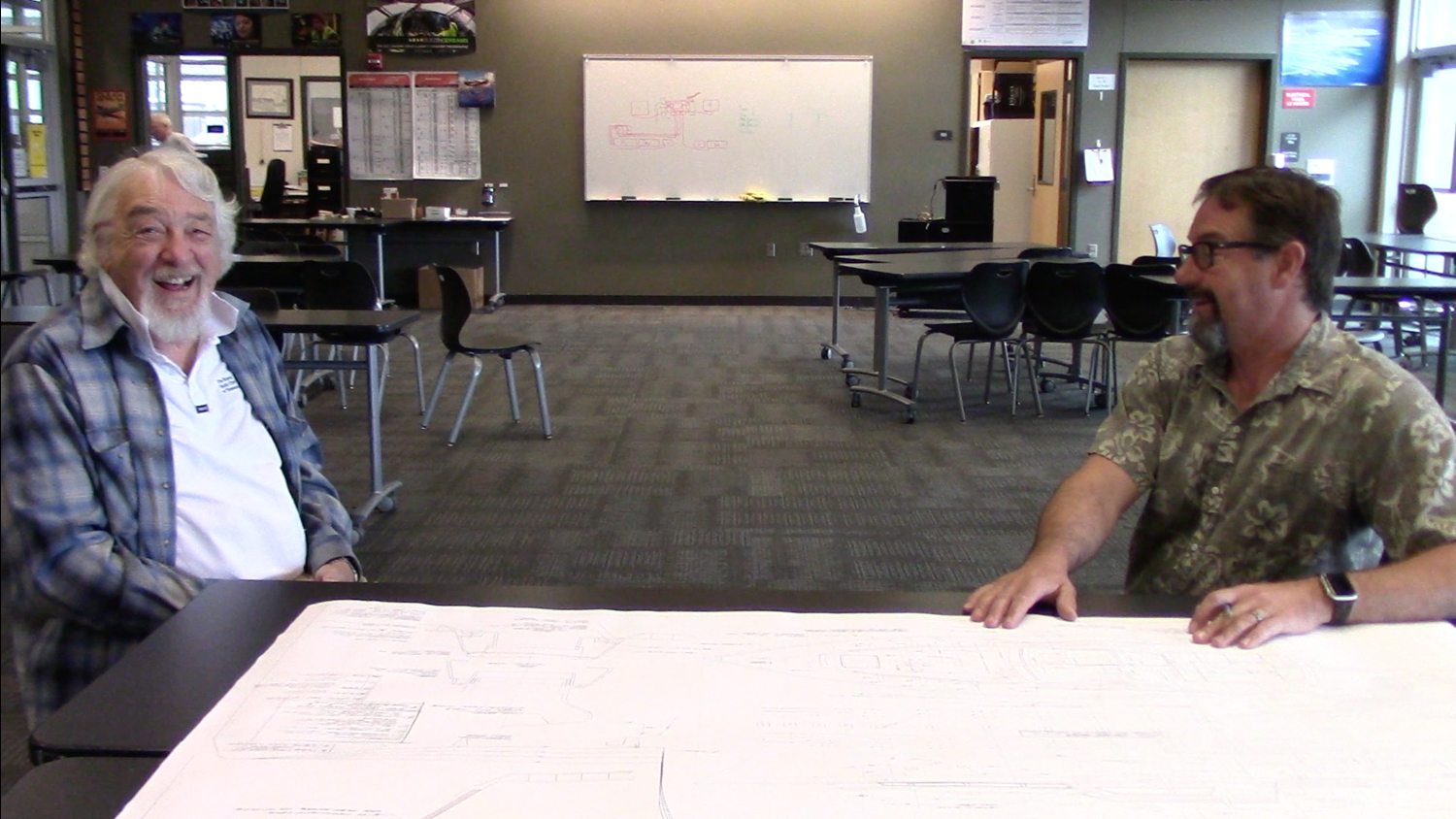 Bob Perry & Mike looking at plans