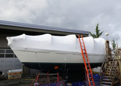 Shrink wrap on sailboat